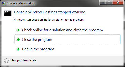 WorkAround: Console2 + Telnet exe on Windows 7 Crashes